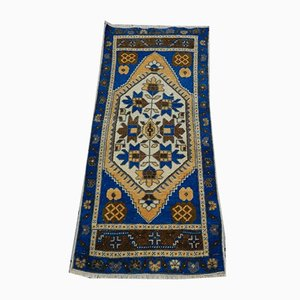 Vintage Blue Turkish Oushak Rug, 1970s