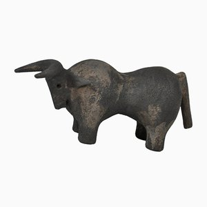 Vintage Ceramic Bull Sculpture by Dominique Pouchain