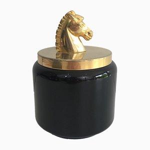 Schwarzer französischer Eiskübel mit goldenem Pferdekopf, 1970er