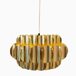 Brass Ceiling Lamp by Werner Schou for Coronell Elektro, 1970s