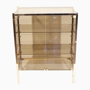 Hollywood Regency Brass & Smoked Glass Bar Cabinet by Pierre Vandel, 1970s