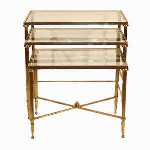 Golden Brass Nesting Tables from Maison Jansen, 1950s