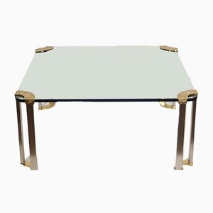 Table Basse en Bronze et Verre, 1970s