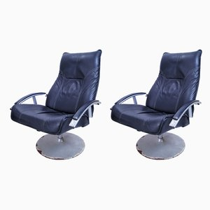 Vintage Industrial Leather Recliners from Habitat, 1970s, Set of 2
