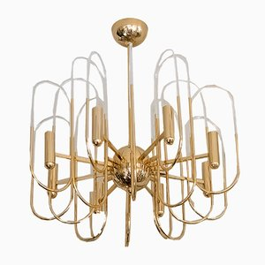 Mid-Century Italian Brass and Glass Chandelier by Sciolari, 1960s