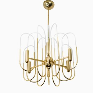 Mid-Century Italian Brass and Glass Chandelier by Sciolari, 1960s