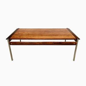 Tavolino da caffè Mid-Century in palissandro e acciaio cromato di Sven Ivar Dysthe per Dokka Møbler, anni '60