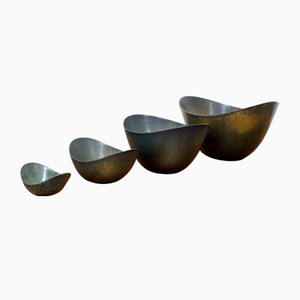 Dark Descending Size Bowl Set by Gunnar Nylund for Rörstrand, 1950s