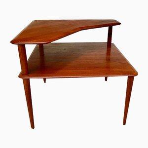 Table d'Appoint à 2 Niveaux Mid-Century en Teck Massif par Peter Hvidt & Orla Mølgaard-Nielsen pour France & Søn, Danemark, 1960s