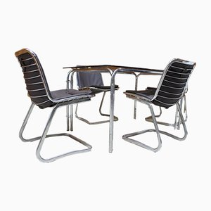 Chrome Cantilever Chairs & Table Set, 1970s