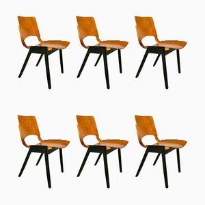 Mid-Century Model P7 Stacking Dining Chairs by Roland Rainer for Emil & Alfred Pollak, 1950s, Set of 6