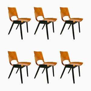 Stapelbare Mid-Century Modell P7 Esszimmerstühle von Roland Rainer für Emil & Alfred Pollak, 1950er, 6er Set