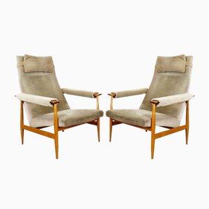 Mid-Century Armlehnstühle mit Holzgestell, 1960er, 2er Set