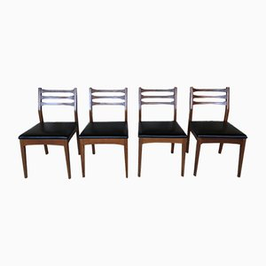 Mid-Century Teak & Black Vinyl Dining Chairs from Meredew, Set of 4