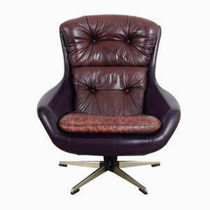 Leather Swivel Armchair, 1970s