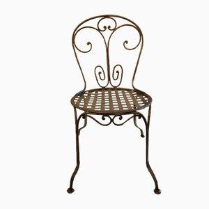 Sedia da giardino vintage in ferro battuto
