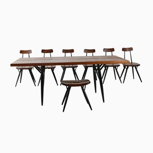 Pirkka Dining Group by Ilmari Tapiovaara for Laukaan Puu, 1960s