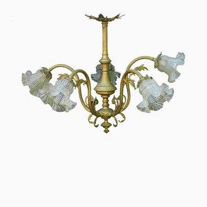 Lámpara de araña estilo Luis XV revival francesa antigua de bronce dorado y vidrio, década de 1900