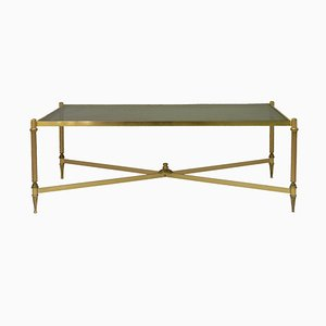 French Louis XVI Revival Style Gilt Metal and Glass Coffee Table from Maison Baguès, 1950s