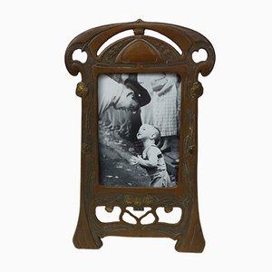 Antique Art Nouveau Picture Frame with Floral Ornaments
