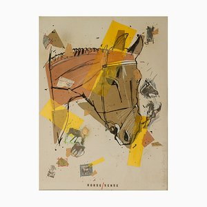 Collage Horse Sense vintage di Richard Walker, 1981
