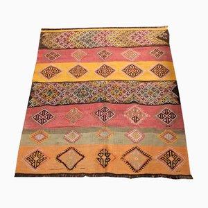 Alfombra kilim turca vintage multicolor de lana, años 50