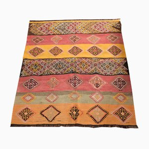 Vintage Turkish Multi-Colored Wool Kilim Rug, 1950s