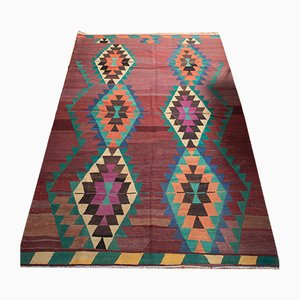 Vintage Turkish Multi-Colored Wool Kilim Rug, 1960s