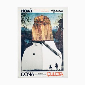 Vintage Don Quixote Rides Again Movie Poster by Zdeněk Palcr, 1974