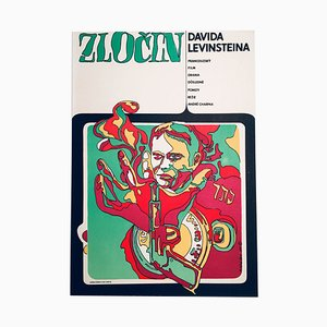Vintage The Crime of David Levinstein Movie Poster by Milan Němeček, 1969