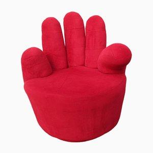 Silla giratoria Pop Art en rojo con forma de mano, años 80