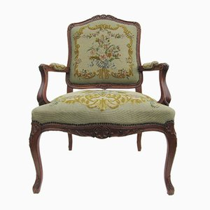 Antique Louis XV Carved Oak Needlepoint Armchair