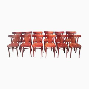 Vintage Wooden Bistro Chairs, Set of 12