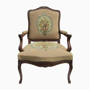 Antike Louis XV Sessel mit Gestell aus geschnitztem Holz mit Gobelinstickerei