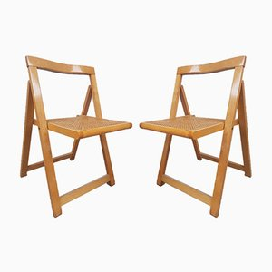 Mid-Century Wicker & Caned Folding Chairs, 1980s, Set of 2