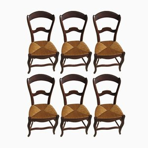 Vintage Louis Philippe Mulched Dining Chairs, 1900s, Set of 6