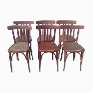Vintage Wooden Bistro Chairs, Set of 6
