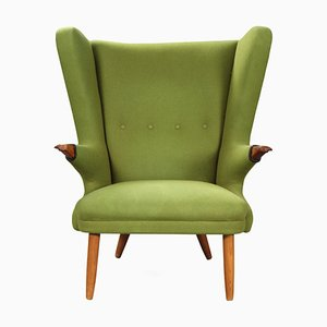 Green Wool Armchair, 1960s