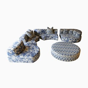Comporta Home Collection Modular Foam Sofa in Blue Verdure Tapestry by JPDemeyer
