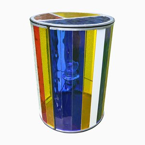 Cylindrical Belgian Colored Glass Lamp