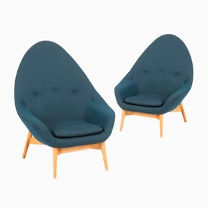 Monk Beech Lounge Chairs from Keravan Puusepäntehdas / Stockmaanr Oy, 1950s, Set of 2