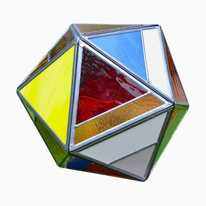 Polyhedral Belgian Colored Glass Lamp