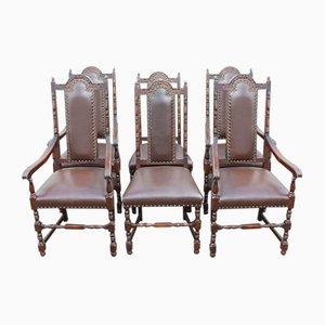 Esszimmerstühle aus Eiche mit hoher Lehne und Ledersitzen, 1920er, 6er Set