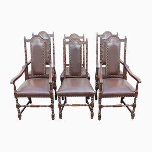 Oak Highback Dining Chairs with Leather Seats, 1920s, Set of 6