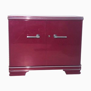 Vintage Art Deco High Gloss Red Commode