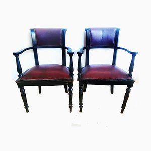 19th Century English Leather Club Armchairs, Set of 2