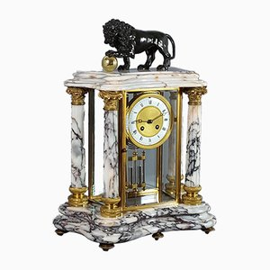 French Carrara Marble & Gilt Four Glass Brass Mantle Clock by Japy & Cie, 1880s