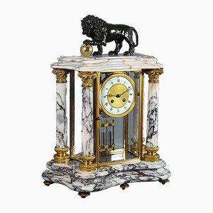 Horloge de Cheminée en Marbre de Carrare, Laiton et Verre par Japy & Cie, 1880s
