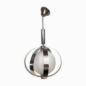 Lámpara colgante italiana era espacial de cromo y vidrio blanco, años 70