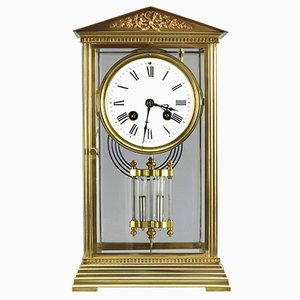 Antique French Glass & Brass Mantle Clock by Couaillet Freres, 1890s